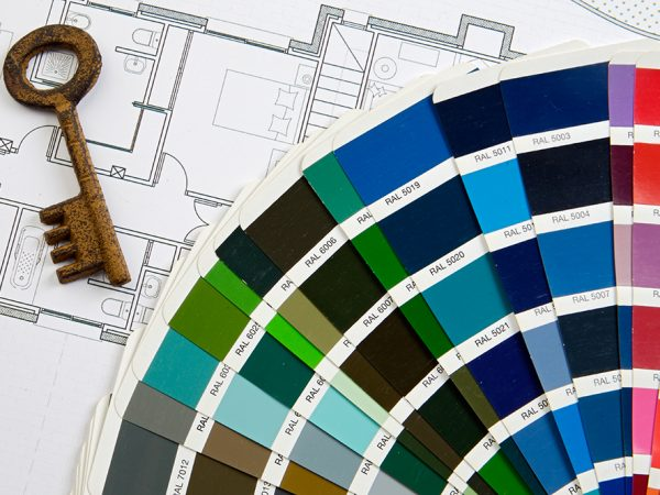 design colors  with key and planes of one house
